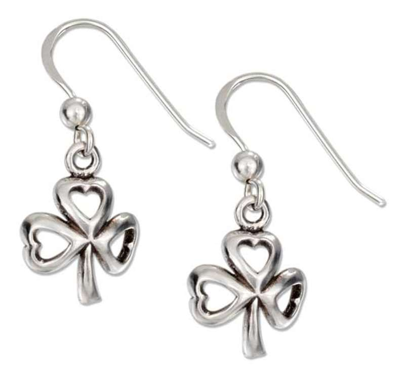 Shamrock Three 3 Leaf Clover Dangle Earrings