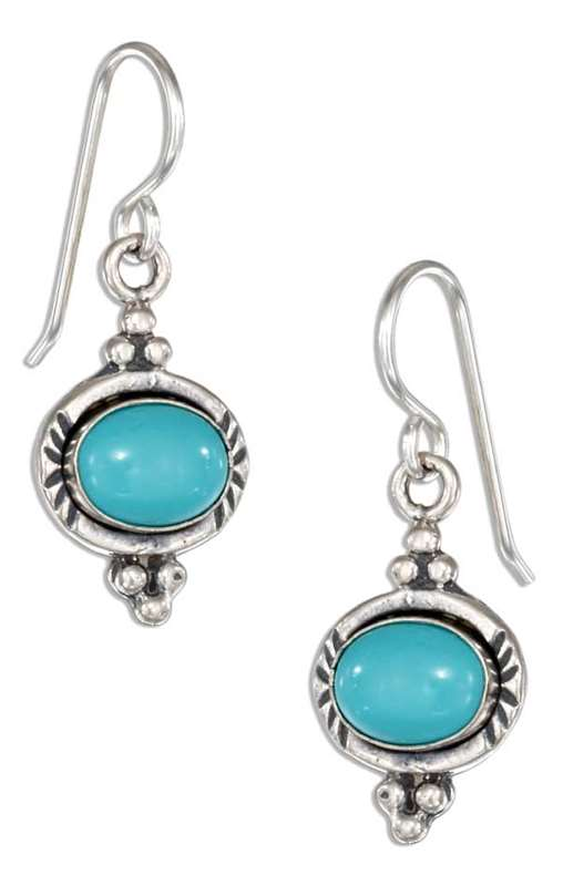 Side Laying Turquoise Dangle Earrings