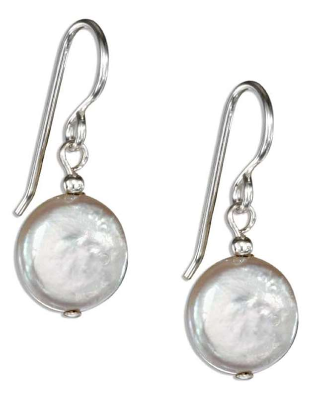 Flat Freshwater Coin Pearl Dangle Earrings