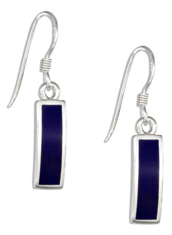 Curved Lapis Bar Dangle Earrings