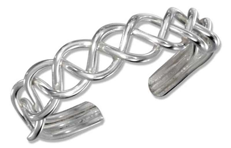 Sterling Silver Men's Braided Wire Adjustable Toe Ring
