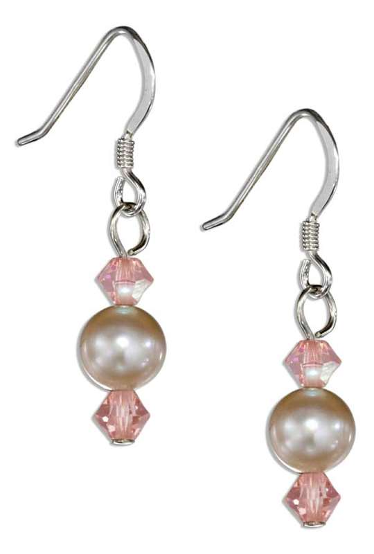 Single Pink Freshwater Pearl Earrings Peach Austrian Crystals