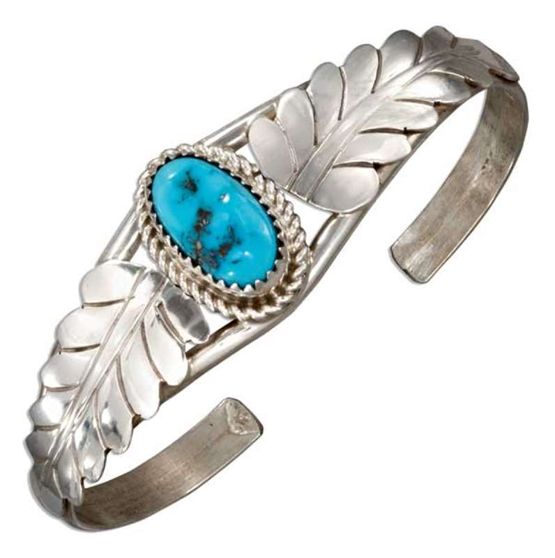 Single Turquoise Stone Cuff Bracelet Two Leaves