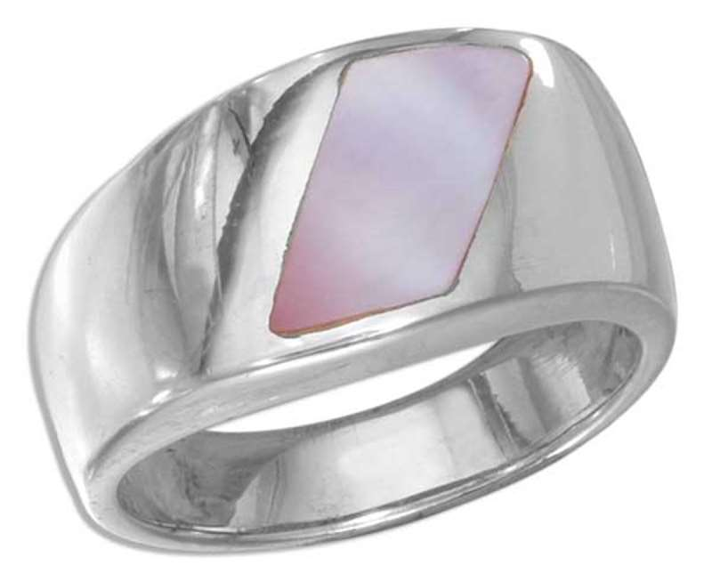 Slanted Pink Mother Of Pearl On Polished Shank Ring