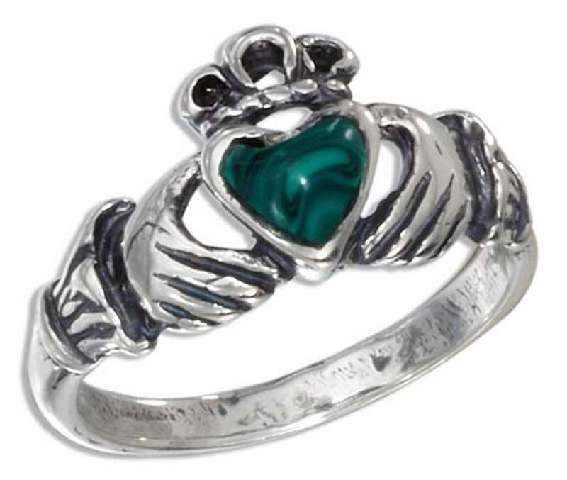Small Claddagh Ring Malachite Heart