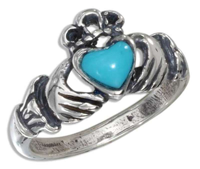 Small Claddagh Ring Turquoise Heart