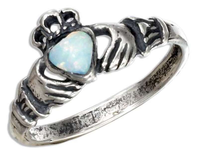Small Claddagh Ring White Imitation Opal Heart