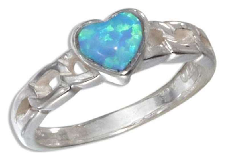 Imitation Blue Opal Heart Curb Link Ring