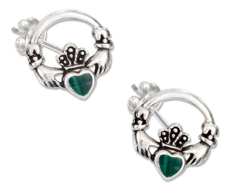 Claddagh Malachite Inlay Post Earrings