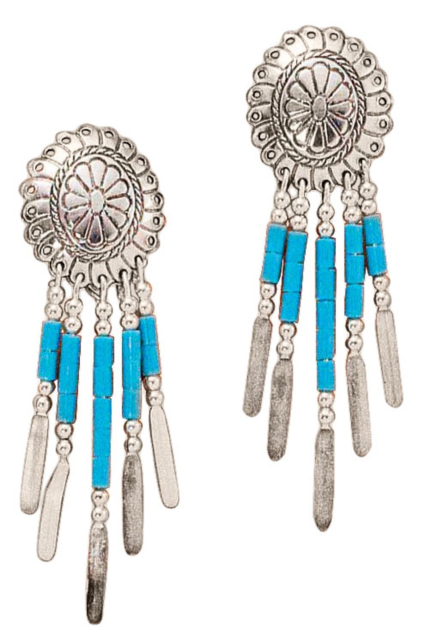 Concho Turquoise Heishi Beads Earrings