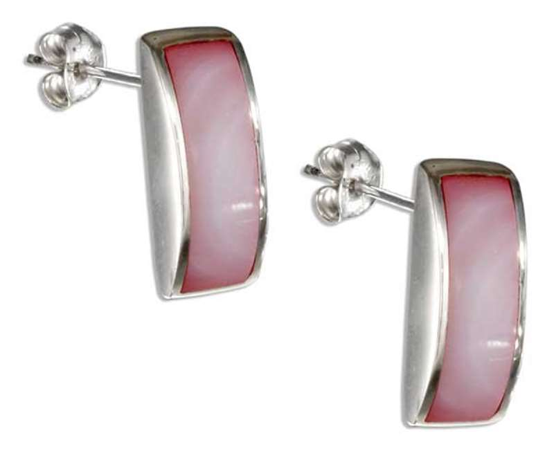 Convex Pink Mother Of Pearl Post Earrings