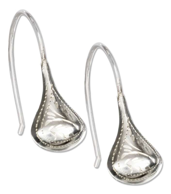 Etched Small Teardrop Earrings