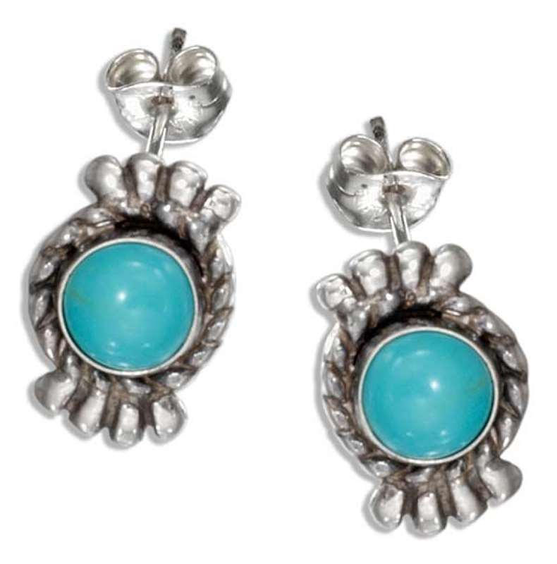 Fan Turquoise Post Earrings
