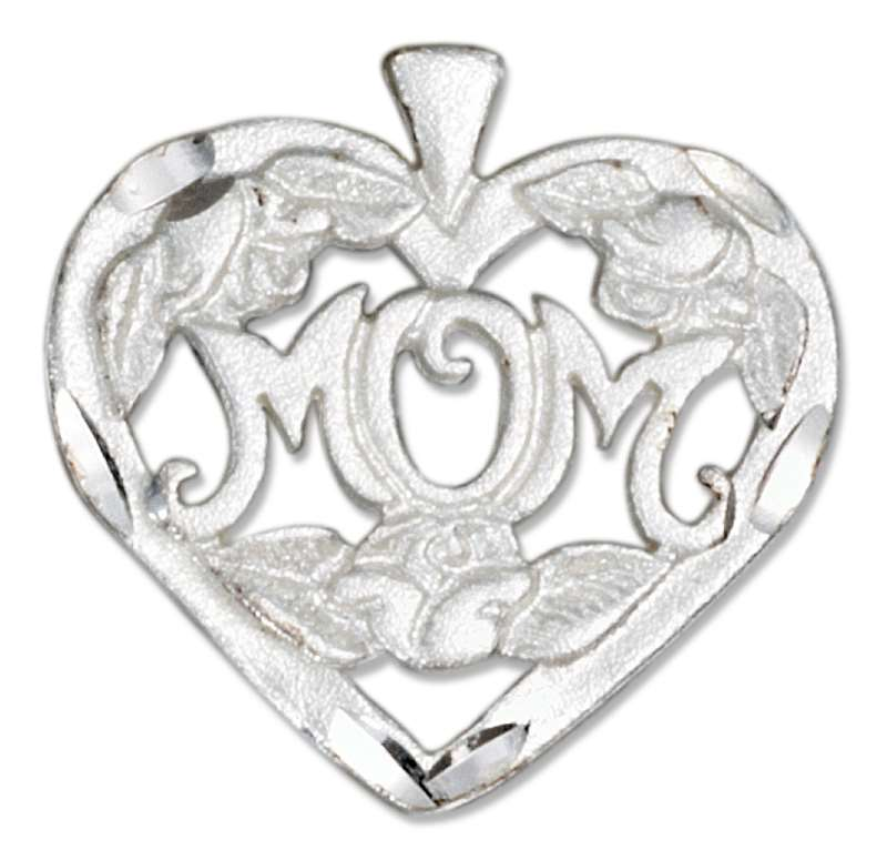 MOM With Flowers Inside Of Heart Pendant