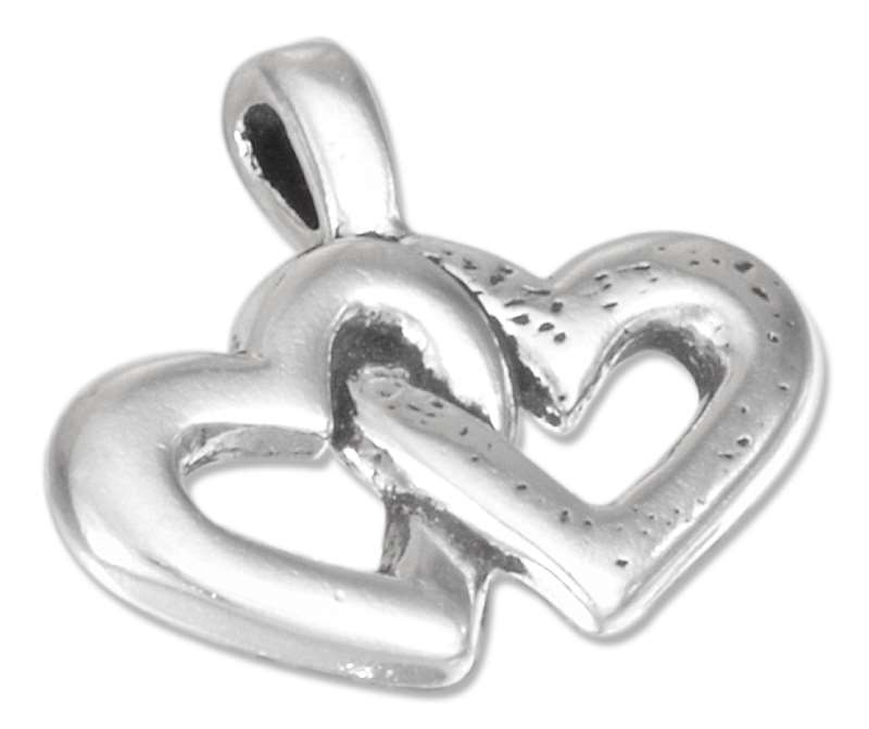 Smooth Etched Double Hearts Pendant
