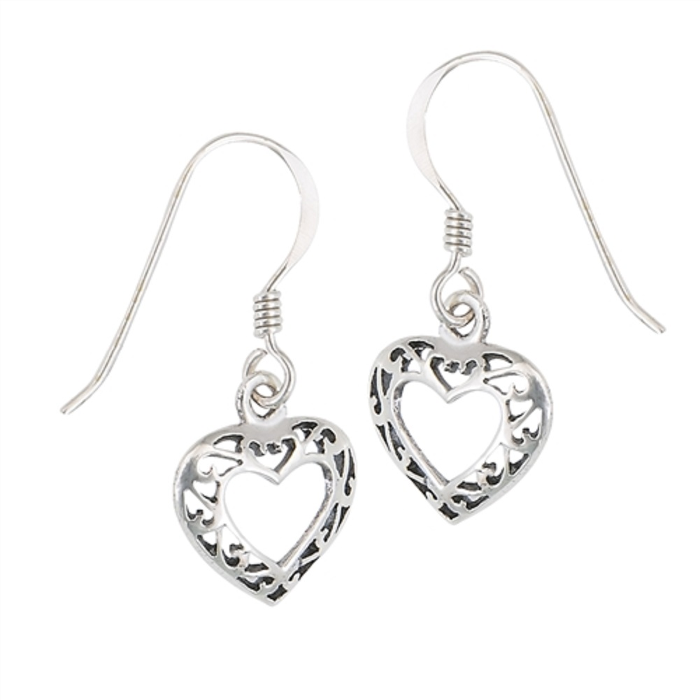 Open Scrolled Heart Dangle Earrings On French Wires