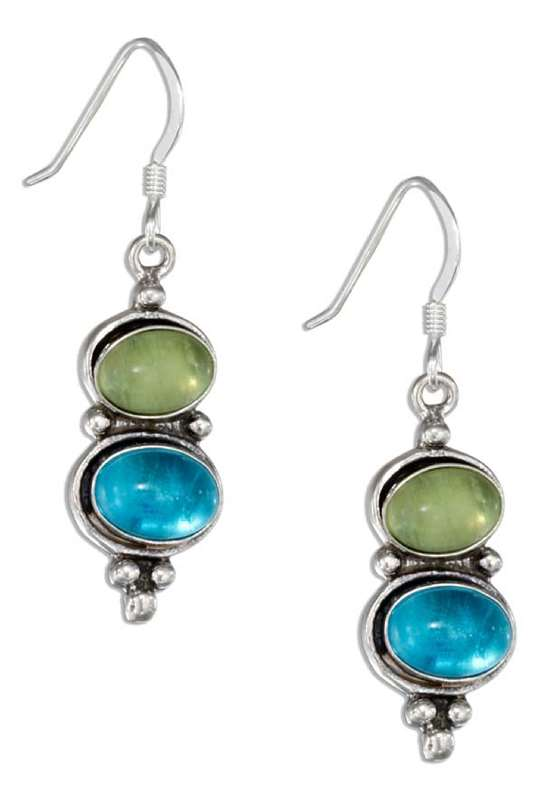 Peridot Blue Topaz Dangle Earrings