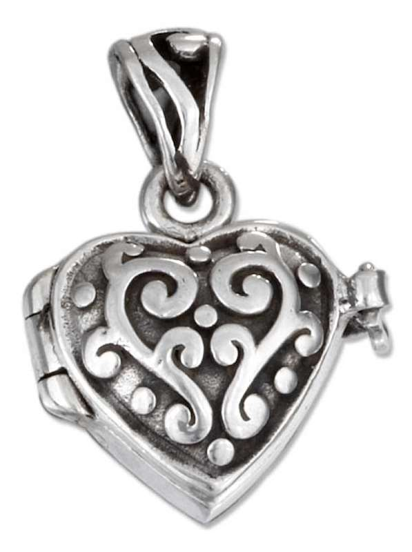 Small Puffed Heart Locket Pendant