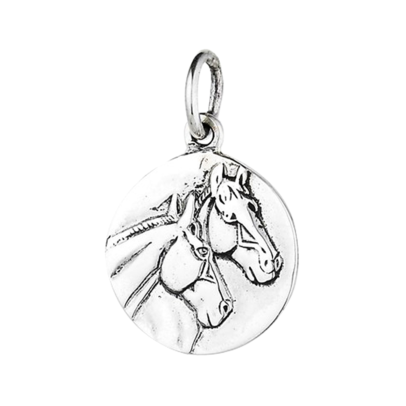 Sterling Silver Small Round Stallion And Mare Horse Head Charm