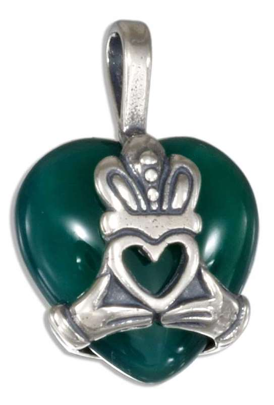 Green Agate Claddagh Pendant