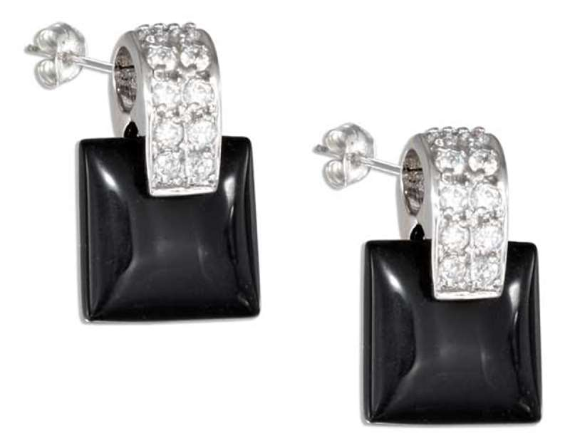 Square Black Onyx Cubic Zirconia Post Earrings