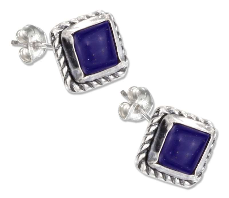 Square Roped Edge Lapis Colored Post Earrings