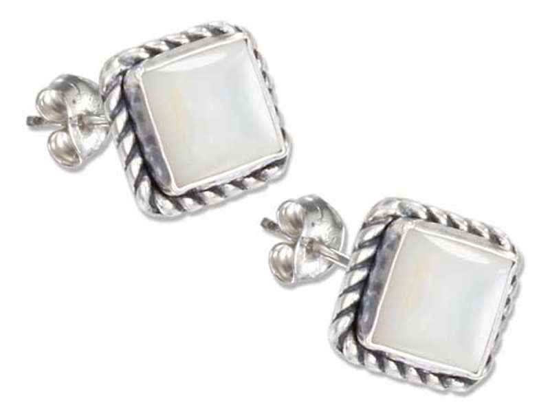Square Roped Edge Mother Of Pearl Post Earrings