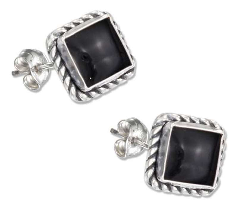 Square Roped Edge Black Onyx Post Earring