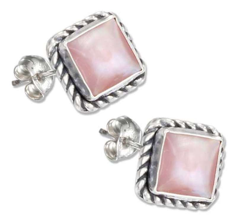 Square Roped Edge Pink Mother of Pearl Post Earrings