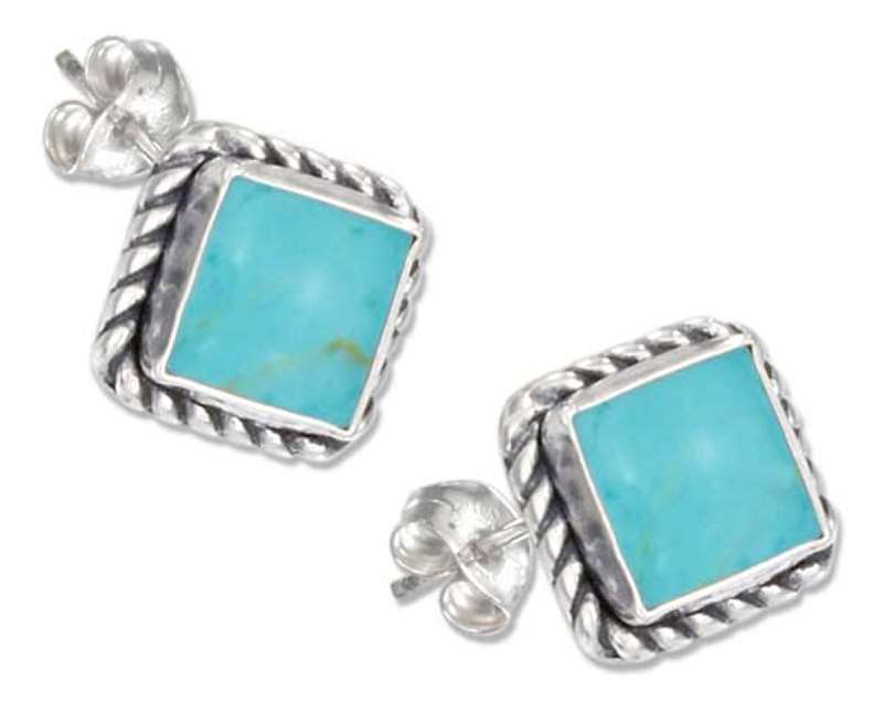 Square Roped Edge Turquoise Post Earrings