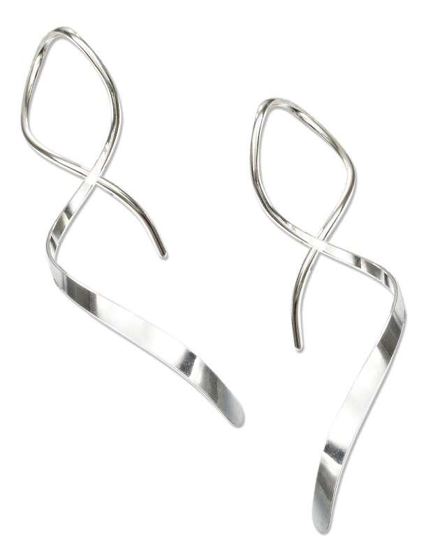 Squiggly Curled Wire Streamer Earrings