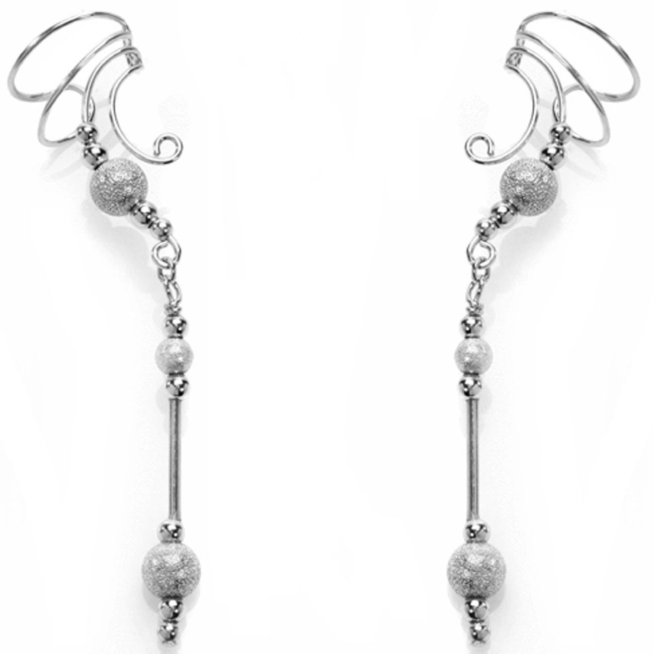 Right Only Pierceless Long Dangle Starbust Beads Ear Cuff