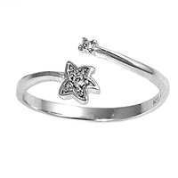 Clear Cubic Zirconia Starfish Or Celestial Star Bypass Wrap Toe Ring
