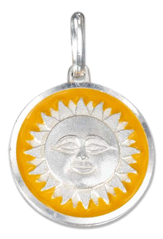 Sun Disk Yellow Enamel Edge Charm