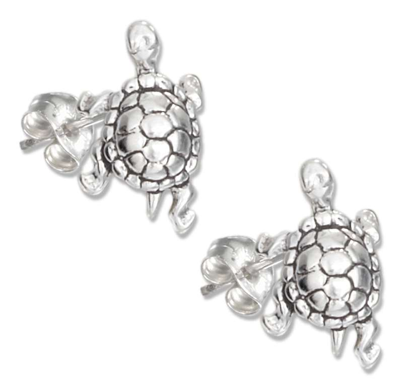 3D Turtle Post Earrings
