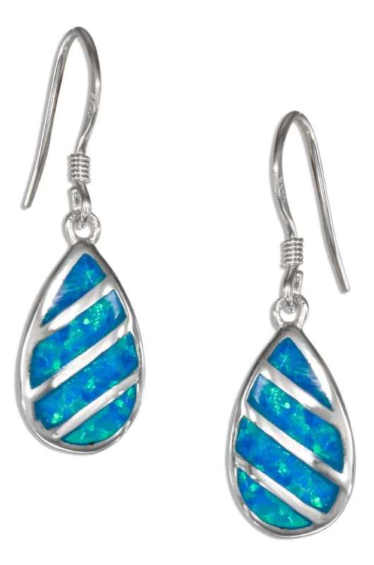 Imitation Blue Opal Teardrop Earrings