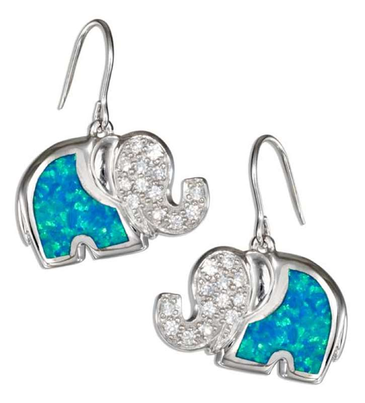 Elephant Earrings on Imitation Blue Opal Pave Elephant Earrings