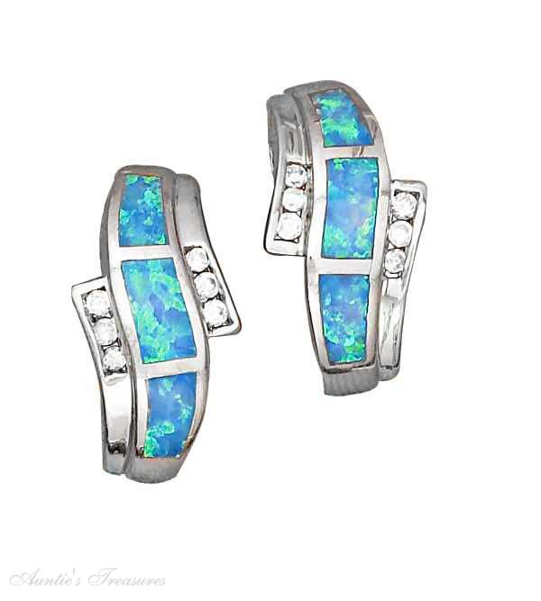 Synthetic Created Opal Earrings