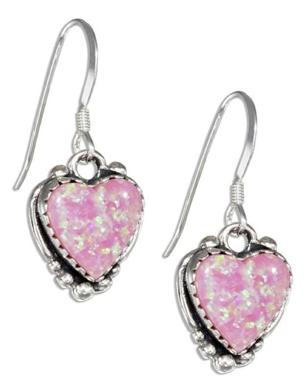 Imitation Pink Opal Heart Dangle Earrings