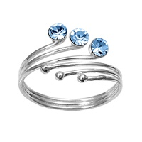 Three Ball Blue Topaz Cubic Zirconia Adjustable Bypass Toe Ring