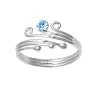Three Ball One Blue Topaz Cubic Zirconia Adjustable Bypass Toe Ring