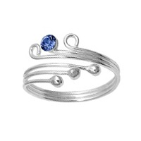 Three Ball One Blue Sapphire Cubic Zirconia Adjustable Bypass Toe Ring