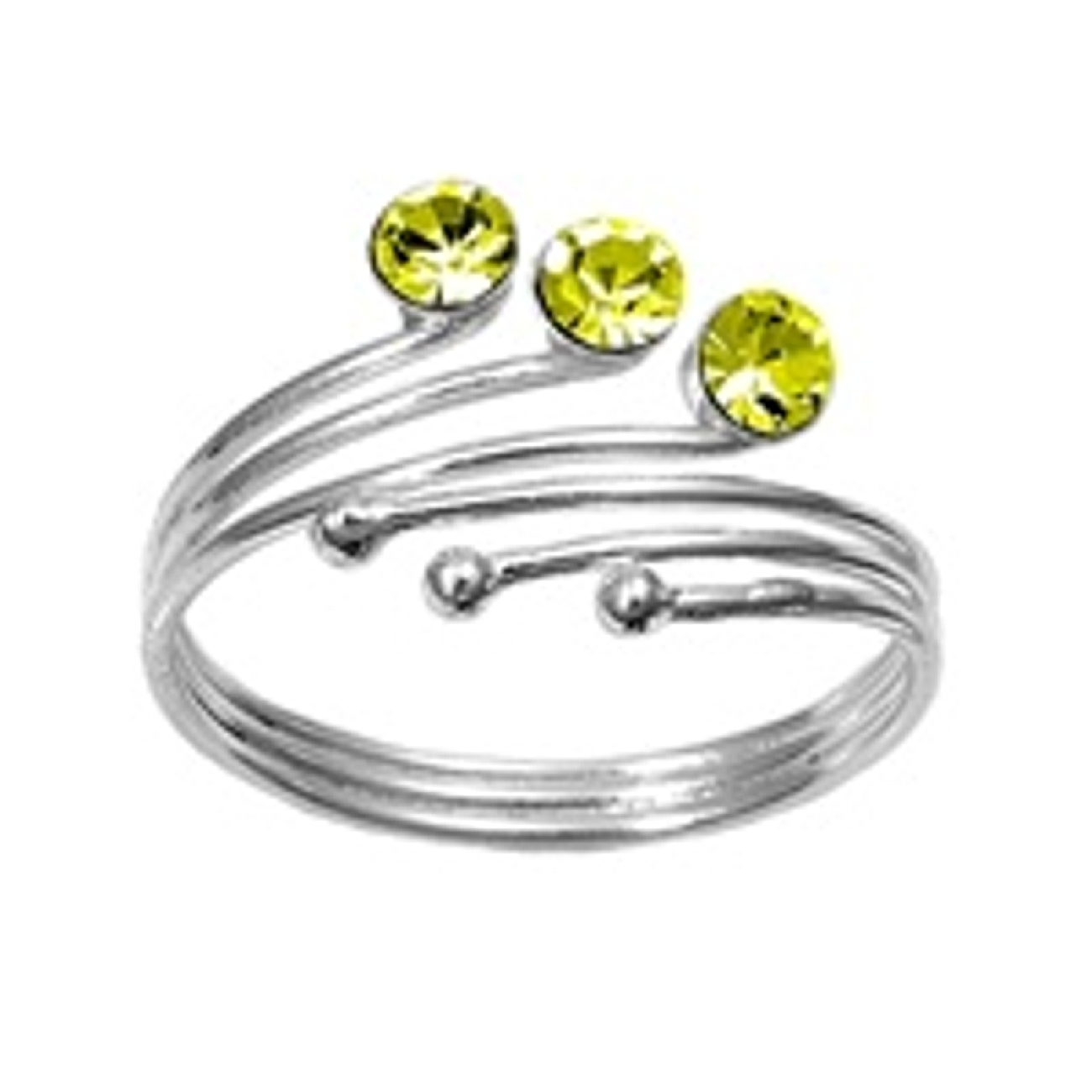 Three Ball With Light Green Cubic Zirconia Adjustable Bypass Toe Ring