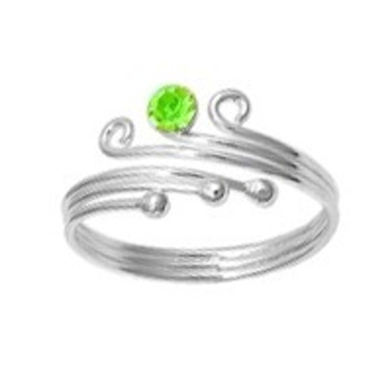 Three Ball One Yellow Green Cubic Zirconia Adjustable Bypass Toe Ring