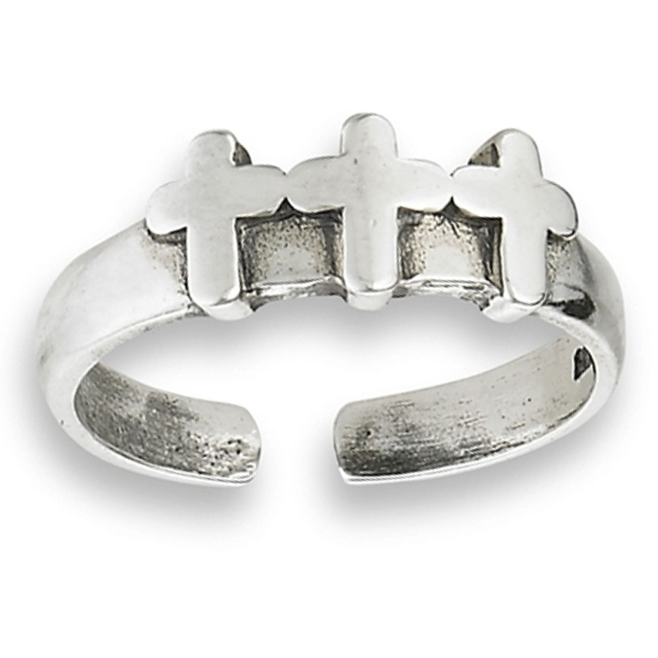 Three Crosses Calvary Adjustable Toe Ring