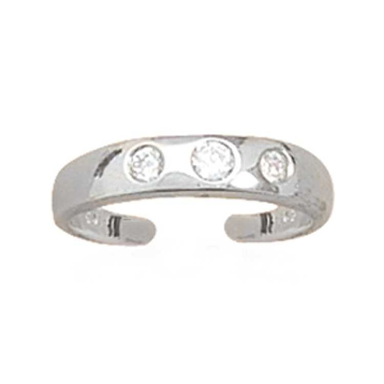 Three Cubic Zirconia Stones Plain Band Adjustable Toe Ring