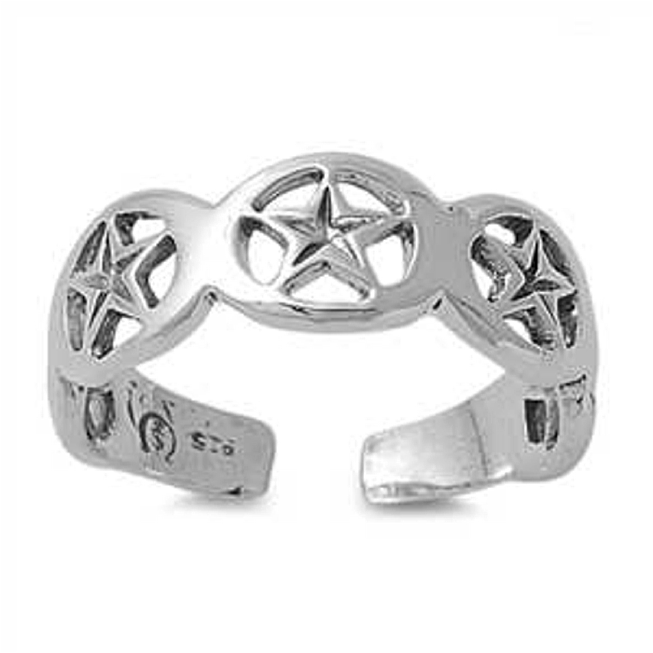 Five Cutout Stars Adjustable Toe Ring