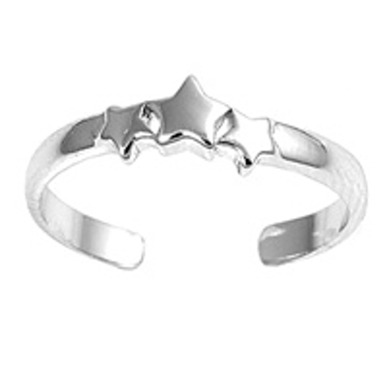 Three Plain Stars Adjustable Toe Ring