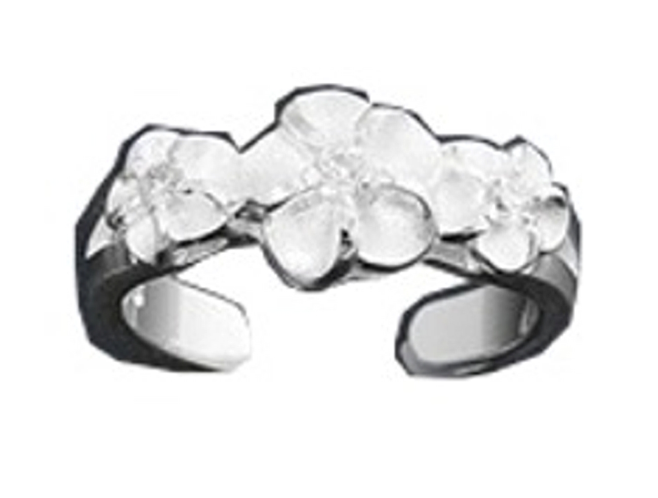 Hawaiian Three Plumeria Flowers Cubic Zirconia Adjustable Toe Ring