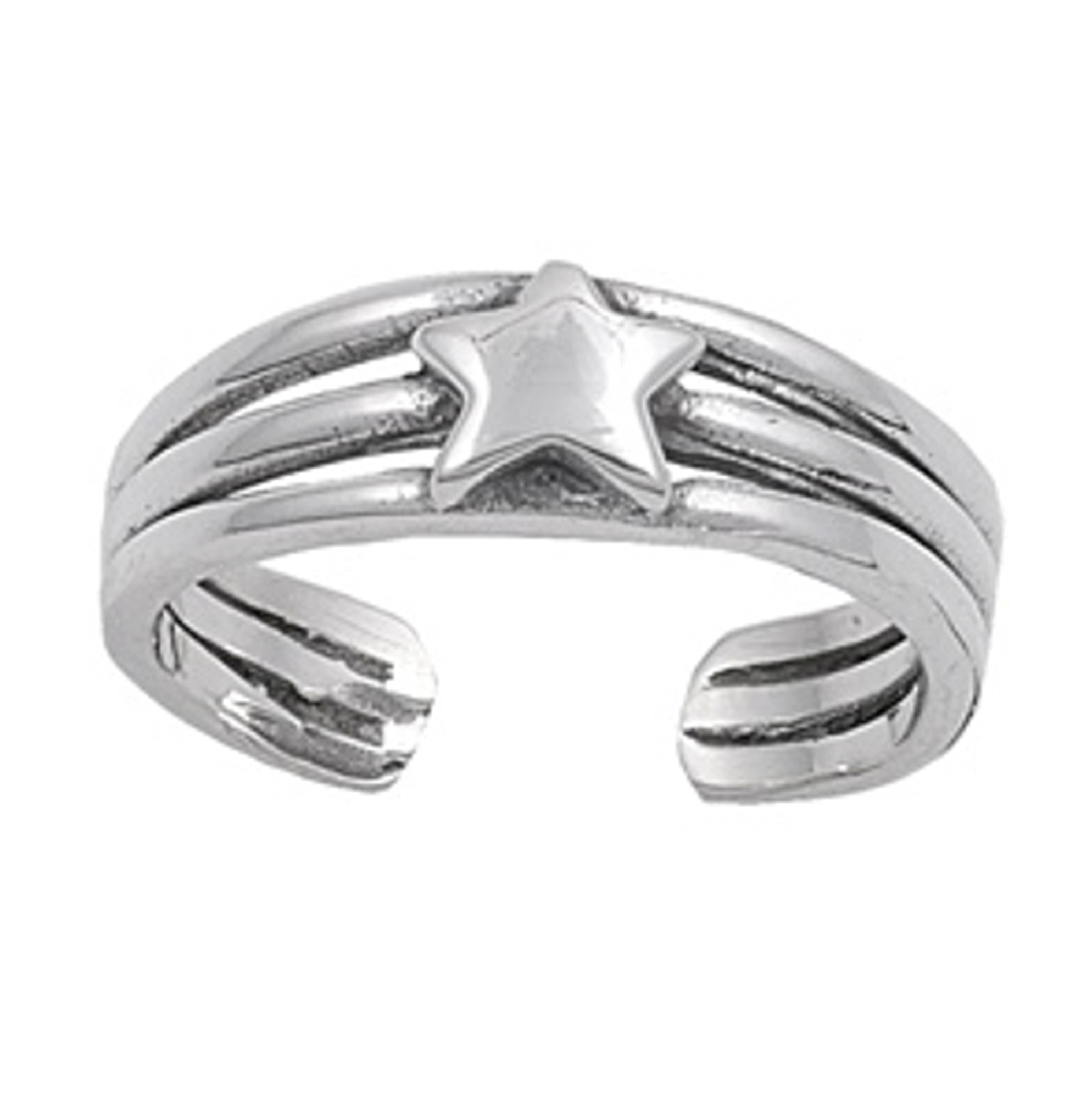 Three Ridges With Star Celestial Adjustable Toe Ring